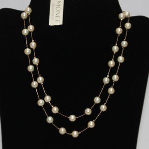 NWT Monet Golden Double Strand Pearl Necklace